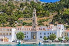 Klooster Panormitis Het eiland van Symi stock afbeelding