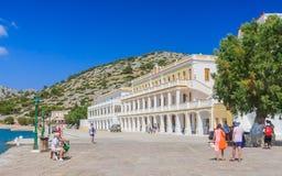 Klooster Panormitis Het eiland van Symi Griekenland royalty-vrije stock fotografie