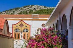 Klooster Panormitis Het eiland van Symi Griekenland stock foto