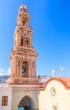 Klooster Panormitis Het eiland van Symi Griekenland stock afbeelding