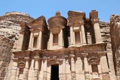 Klooster in Petra, Jordanië. Stock Afbeeldingen