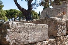 Klooster van Filerimos, Rhodes Island, Griekenland europa Vertaling: geen vertaling zich hier bevond eens de Akropolis van oud royalty-vrije stock fotografie