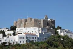 Klooster van Heilige John op Patmos Stock Afbeeldingen