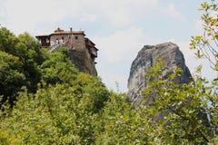 Klooster van Rousanou St Barbara in Meteora-rotsvorming Kalambaka Griekenland royalty-vrije stock fotografie