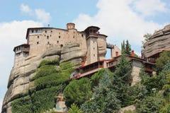 Klooster van Rousanou St Barbara in Meteora-rotsvorming Kalambaka Griekenland stock foto's