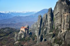 Klooster van Rousanou of St Barbara Monastery in Meteora royalty-vrije stock fotografie