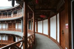 Kloosters van tulou in luodaistad, chengdu stock foto