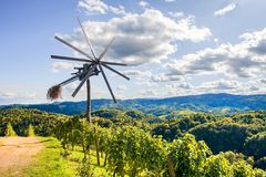 Klopotec, authentic traditional windmill slovenian wine road and local attraction unique to Slovenia Stock Photos