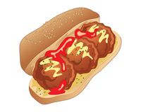 Klopsik kanapka z pomidorowym kumberlandem i musztardą Zdjęcia Royalty Free