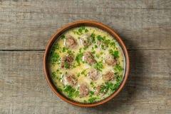Klopsiki z ryż w jajko kumberlandzie Tradycyjna grecka kuchnia najlepszy widok Przestrzeń obrazy royalty free