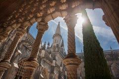 Kloster av Batalha, gotiska torn i den unika forntida kloster Royaltyfria Foton