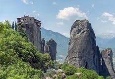 Kloster av Roussanou, Meteora, Grekland Arkivfoto