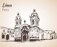 Kloster av San Francisco, Lima skissa stock illustrationer