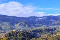 Kloster Bumthang Dzong im Königreich Bhutan stockfotografie