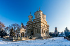 Kloster Curtea de Arges im Winter, Rumänien Stockfoto