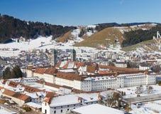 Kloster Einsiedeln im Winter, Stockbild