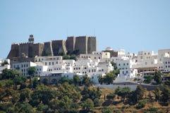 Kloster i den Patmos ön Arkivbilder