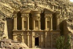 Kloster i Petra, Jordanien Arkivbilder