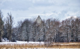 Kloster i vintern Europa Arkivfoto