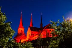 Kloster illuminato Michelsberg alla notte Fotografia Stock Libera da Diritti