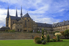 Kloster Michelsberg (Michaelsberg) cathedral and garden in Bambu. Rg, Germany with blue sky Stock Image