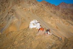 Kloster Namgyal Tsemo, Leh Ladakh Licht und Schatten vom Sonnenuntergang Lizenzfreies Stockfoto