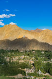 Kloster Namgyal Tsemo, Leh Ladakh Licht und Schatten vom Sonnenuntergang Lizenzfreie Stockfotografie