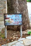 Kloster Nikiti, Grekland för riktningstecken Royaltyfri Fotografi