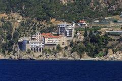 Kloster Osiou Grigoriou & x28; St Gregory & x29; på Mount Athos Royaltyfri Foto