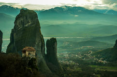 Kloster på Meteora! Arkivfoton