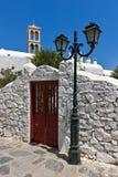 Kloster Panagia Tourliani inTown von Ano Mera, Insel von Mykonos, Griechenland Stockfotos