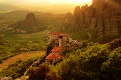 Kloster Roussanou, Meteora, Griechenland stockbild