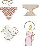 klosterbroderset för 4 kristen symboler royaltyfri illustrationer