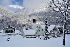 Klosterle am Arlberg, Vorarlberg, Austria. Winter scenery in alpine village Klosterle am Arlberg - Austria Royalty Free Stock Images