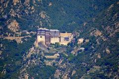 KlosterSimonopetra montering Athos Greece Royaltyfria Foton