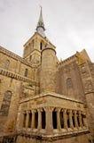 Klostertorn Mont Sanktt Michel. Normandy Arkivfoto