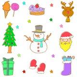 Klotter av attraktion för julbeståndsdelhand Royaltyfri Foto