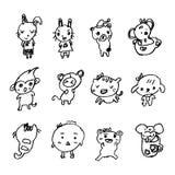Klotter av den djura tecknade filmen som dras av lilla flickan, illustrationvec Arkivfoton