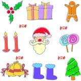 Klotter av den fastställda beståndsdelen för jul Arkivfoton