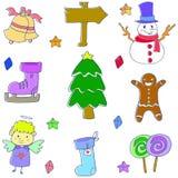 Klotter av den gulliga julbeståndsdelvektorn Fotografering för Bildbyråer