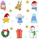 Klotter av den gulliga juluppsättningen Arkivbild