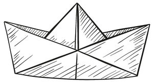 Klotter av det pappers- fartyget vektor illustrationer