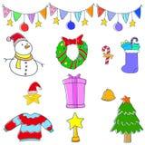Klotter av julbeståndsdelvektorn Royaltyfri Foto