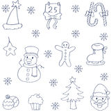 Klotter av julbeståndsdelvektorn Arkivbilder