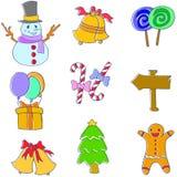 Klotter av julobjektuppsättningen Arkivfoton