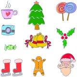 Klotter av julobjektvektorn Royaltyfri Fotografi