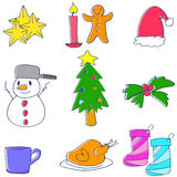 Klotter av julobjektvektorn Royaltyfria Bilder