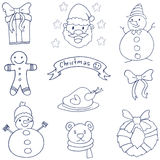 Klotter av julobjektvetcoren Royaltyfri Fotografi