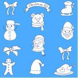 Klotter av juluppsättningen med blåa bakgrunder Arkivfoto