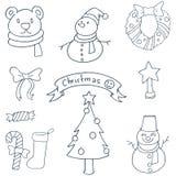 Klotter av julvektorkonst Royaltyfri Fotografi